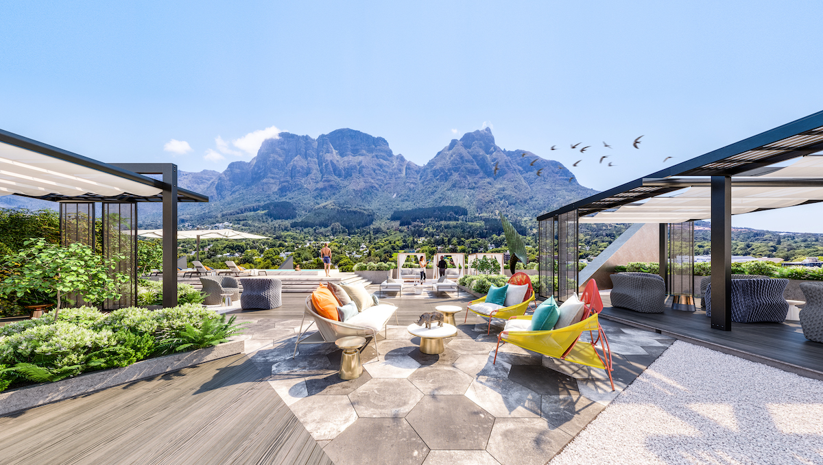 Rooftop Entertainment Deck, Table Mountain View, Newlands Peak, Rawson Developers, Luxury Cape Town Apartments