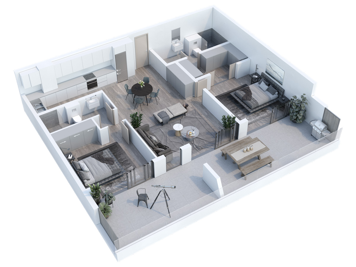 Two Bedroom Two Bathroom Apartment, Newlands Peak, Rawson Developers, Luxury Cape Town Apartments